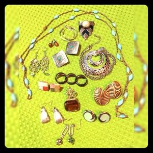 Jewelry Lot Necklaces Earrings pins brooches